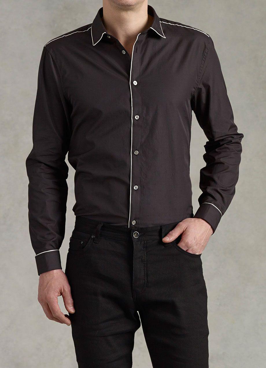 John Varvatos Slim Fit Shirt With Piping Detail Mens Dress Shirts