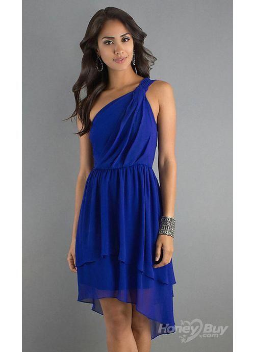 High Low One Shoulder Ruffles Chiffon Royal Blue Cocktail Dresses