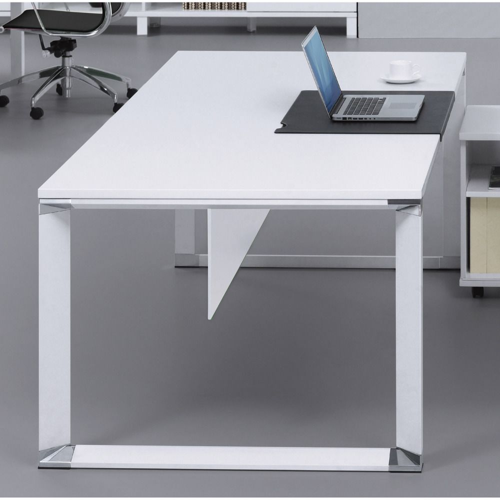 Exceptionnel Large White Wood And Aluminum Writing Desk | Overstock.com