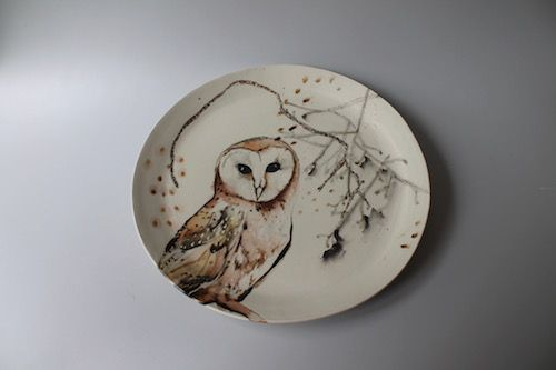 Barn Owl Plate Shannon Garson Ceramic Artists Subject