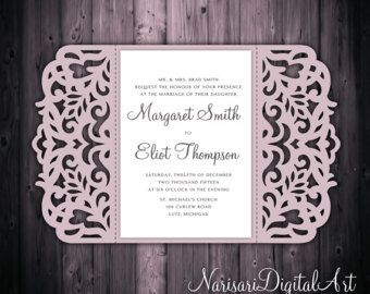 Laser Cut Wedding Invitation Slide In Card Belly Band Template Quinceanera SVG Cutting File Silhouette Cameo Cricut