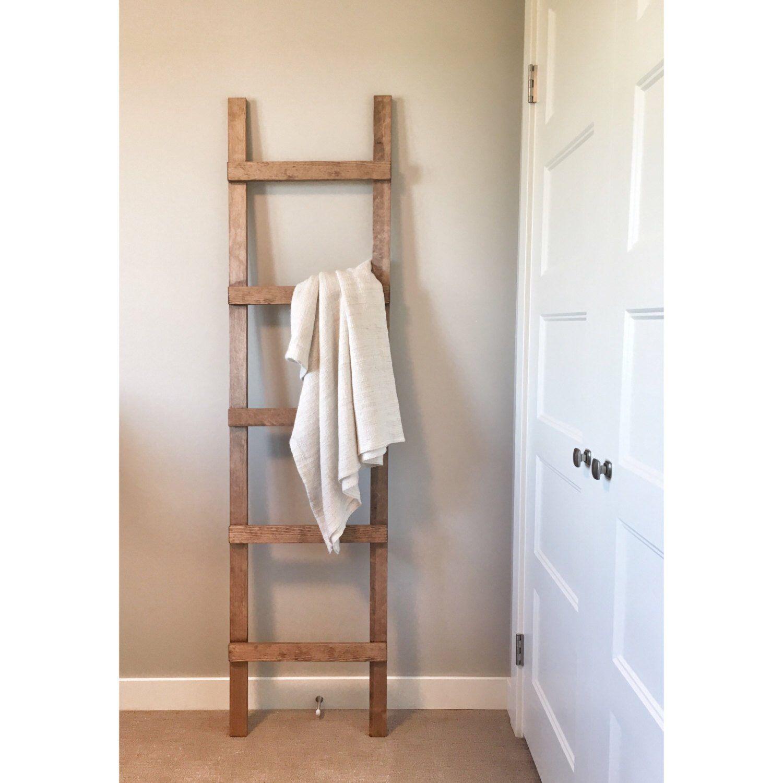 Rustic wooden blanket ladder farmhouse decor storage ladder quikt
