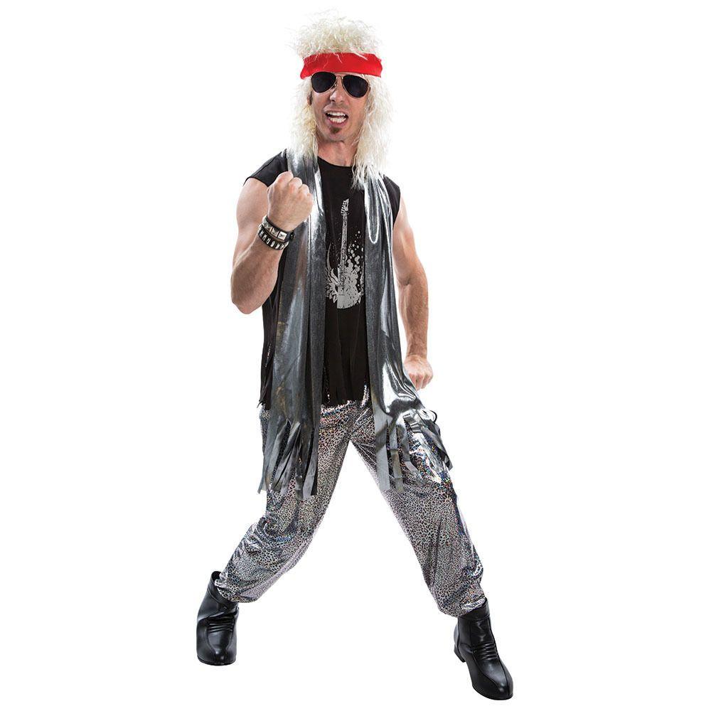 ADULT MENS 1980s GLAM ROCKER ROCK STAR COSTUME FANCY DRESS