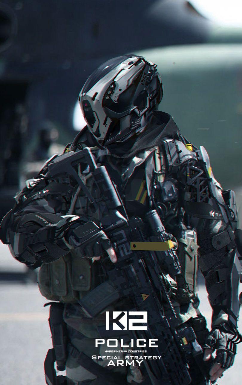 Futuristic Police Robot Concept Art