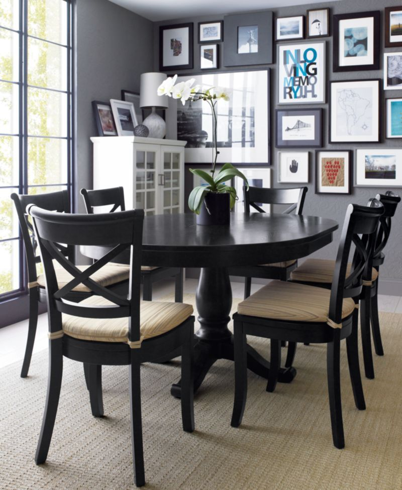 Vintner Black Side Chair And Latte Stripe Cushion Dining Table