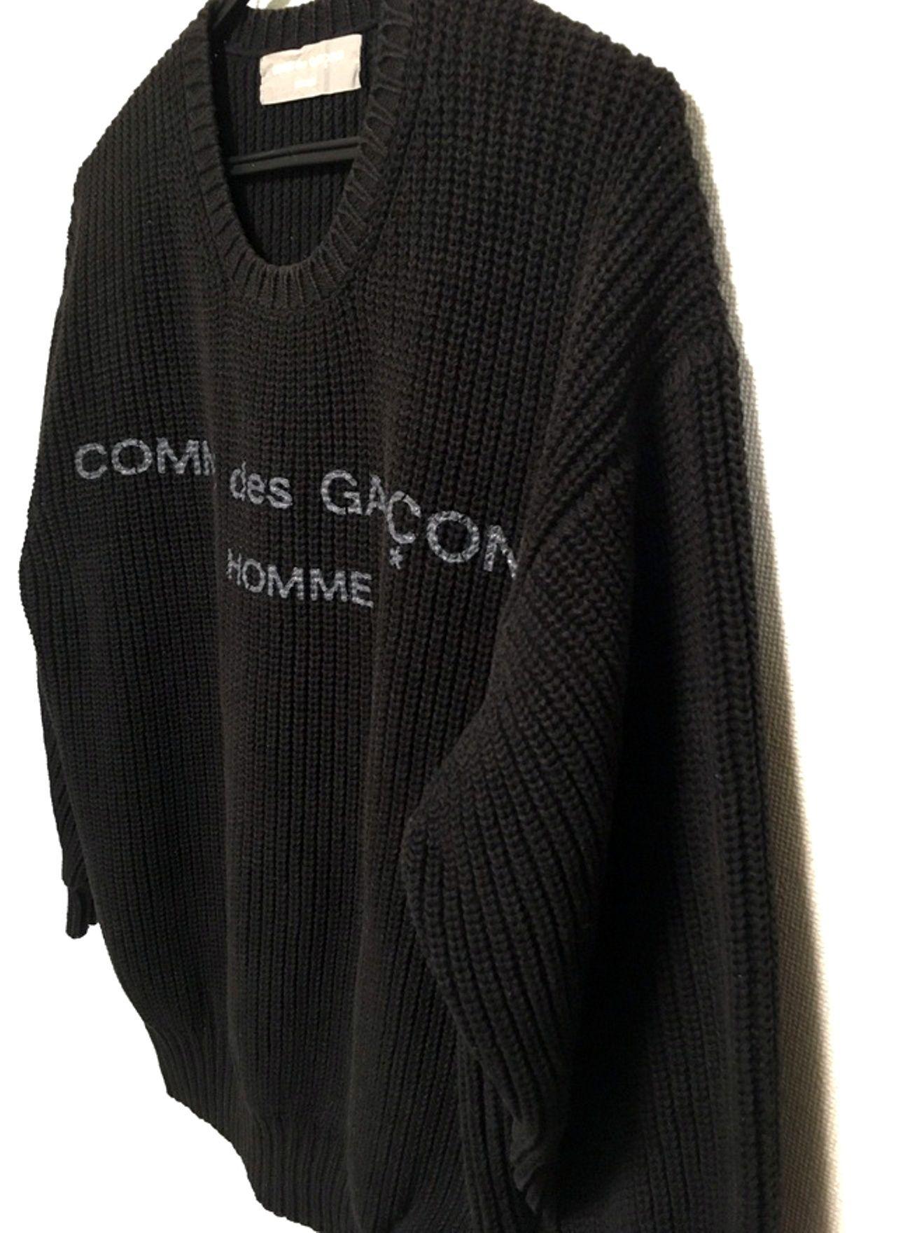 6cfb977bc583 Comme des Garcons Vintage 80 s Comme Des Garcons Homme Logo Knit Sweater  Black Size US L   EU 52-54   3 - 4