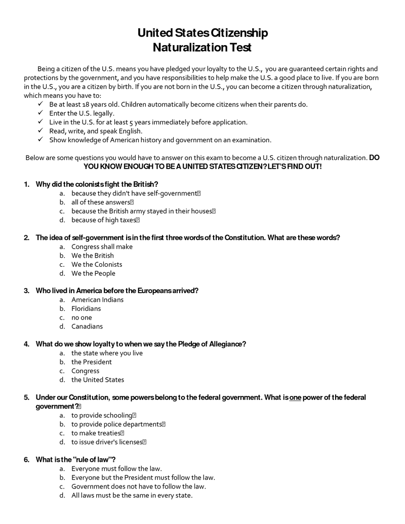 Page 1 - Citizenship Test.docx | American Government | Constitution ...