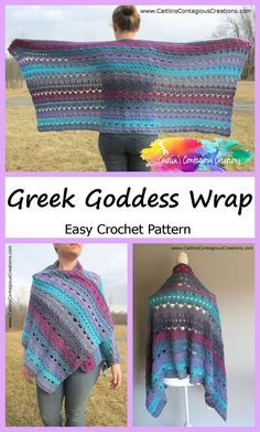 Greek Goddess Wrap Crochet Pattern Easy Fun Rectangle Prayer Shawl Design