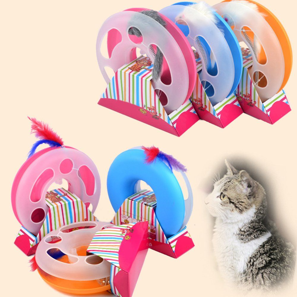 Moonvvin Interactive Captive Ball Spring Feather Cat Toy Funny Cat Teaser Playing Toyscolor Random Details Can Be Found By Kitten Toys Pet Ball Pet Cat Toys