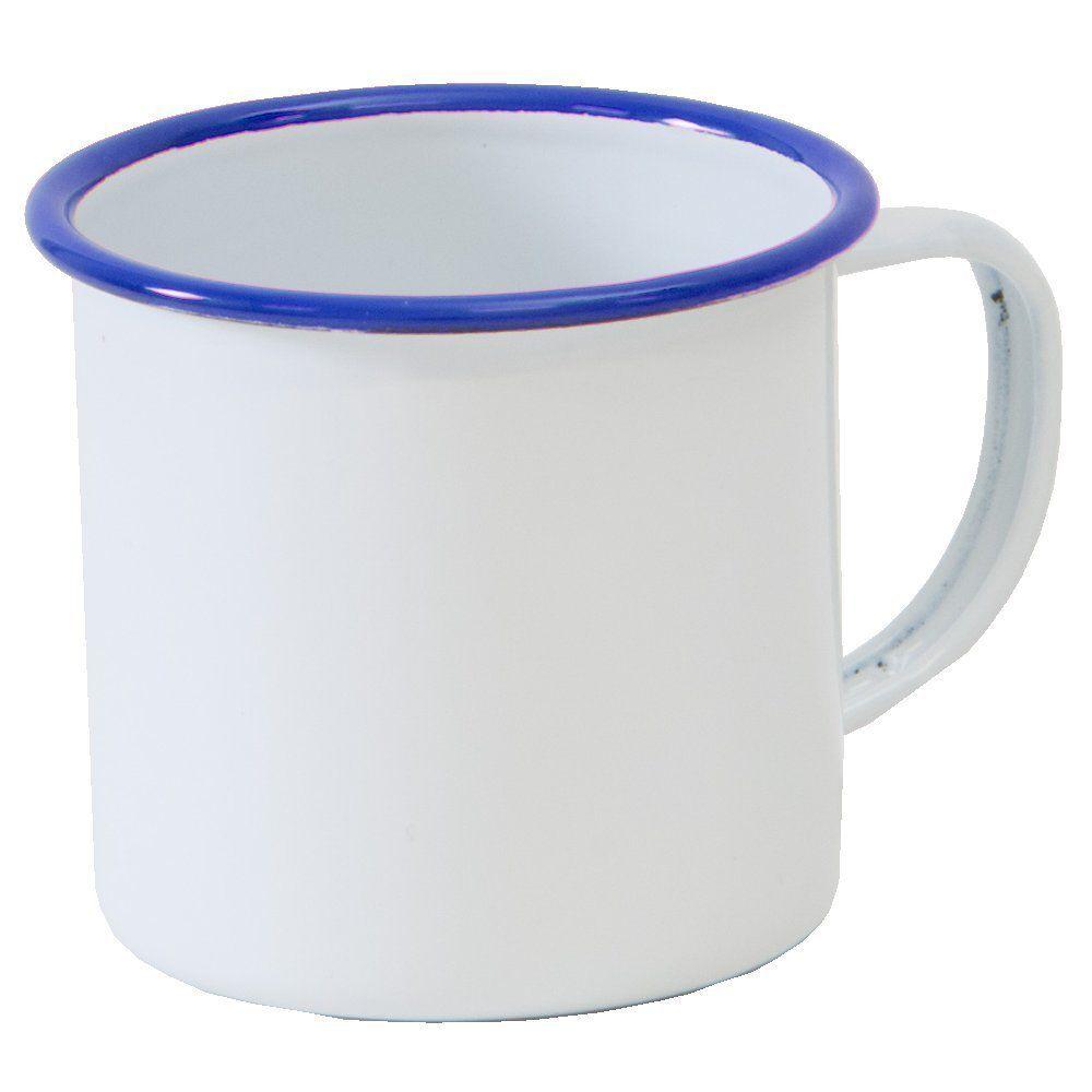Solid White With Blue Rim Cheap Coffee Mug Mugs Enamelware