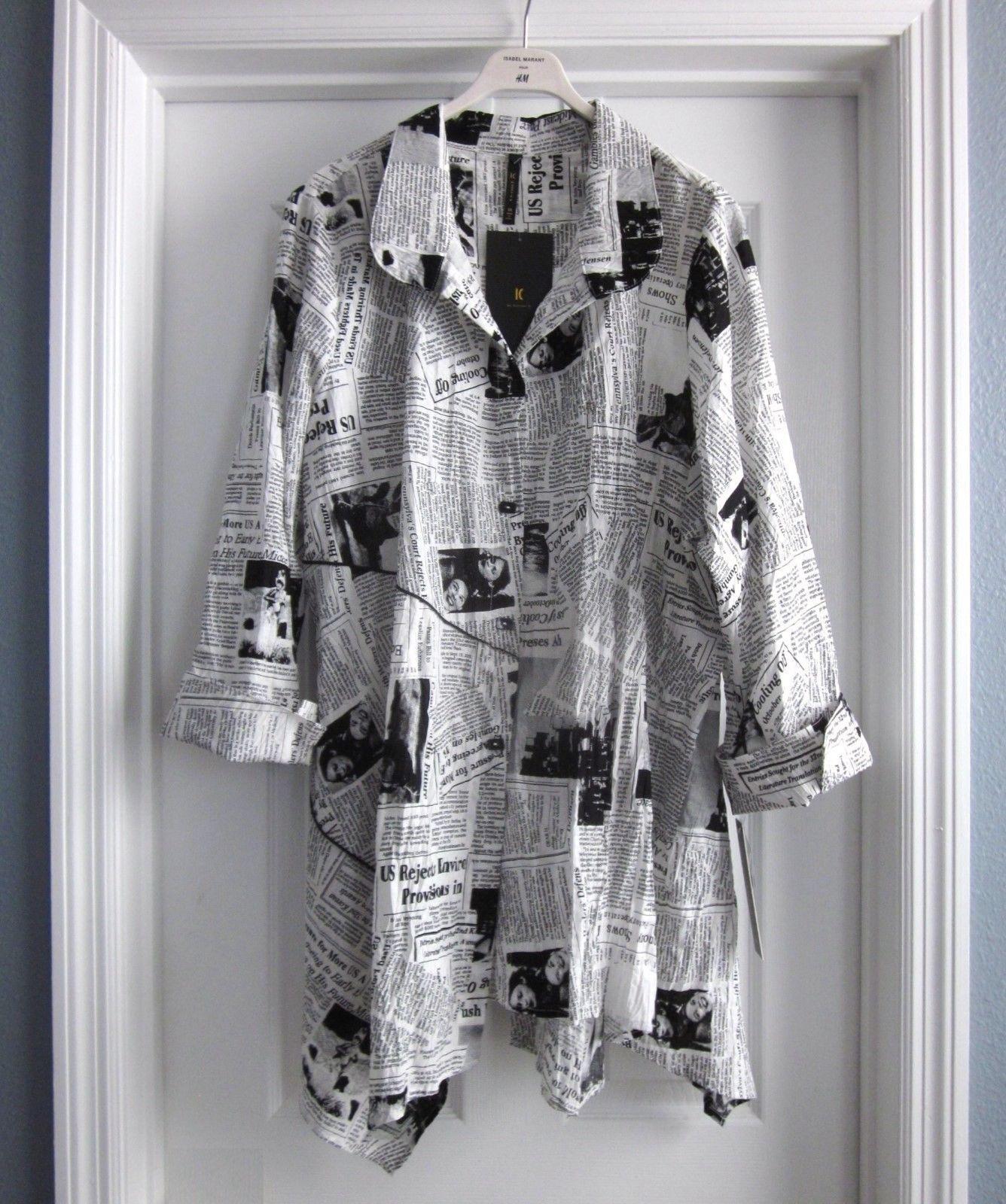 2e04b63ed30 IC Collection by Connie K Black White Newspaper Print Asymmetric Tunic Top  3X   eBay