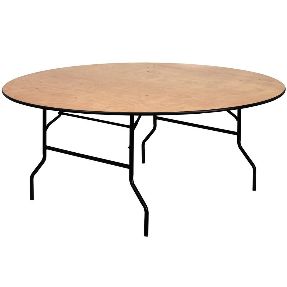 - 72 In. Natural Wood Tabletop Metal Frame Folding Table-CGA-YT-3035