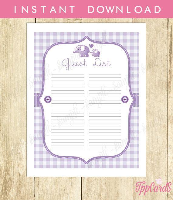 Instant Download Elephant Guest List Printable Lilac Elephant Baby - printable baby shower guest list