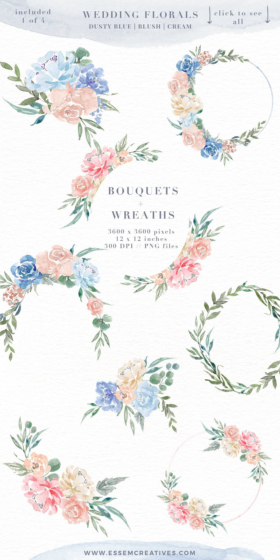 Blue Watercolor Flowers Roses Bouquets Frames Wreaths In 2020