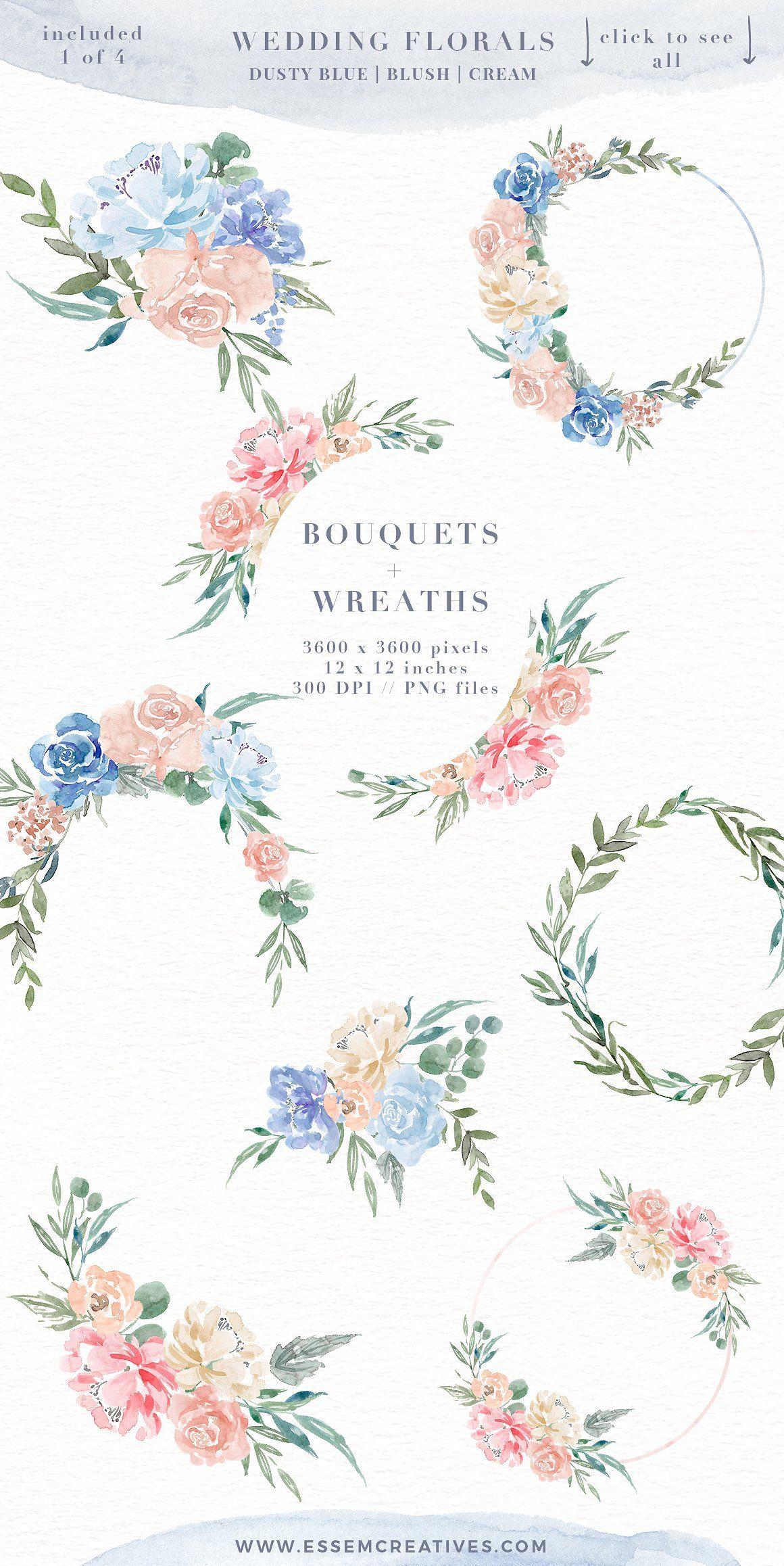 Wedding Watercolor Flowers Graphics Bunga