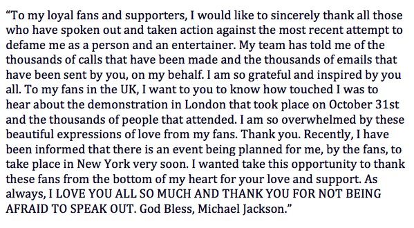 """Michael Jackson's letter thanking fans for standing by him midst the accusations.  Its sad that even though his """"victims"""" have said that they lied, Michael's name is still dragged through the mud SMH."""