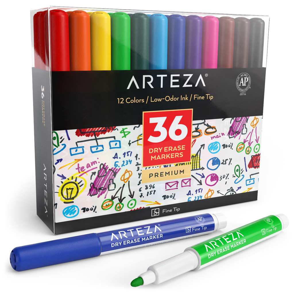 Dry Erase Markers Fine Tip 12 Assorted Colors Arteza Markers Set Dry Erase Markers