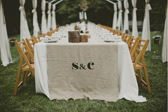 Table runner- burlap monogram