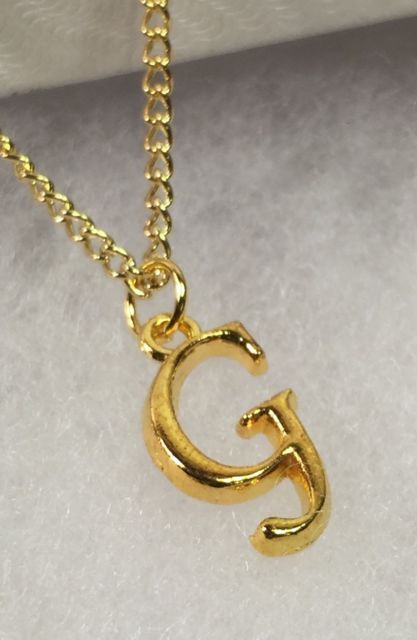 Initial letter g pendant necklace 18 curb link chain 22k gold aloadofball Image collections