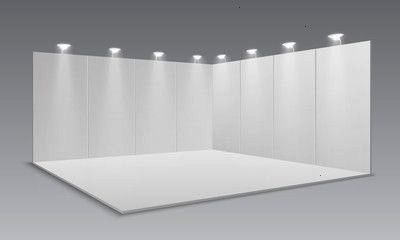 display exhibition stand White empty panels promotional advertising stand Presentation event room 3d template Vector exhibition and framework area floor with light lamp i...