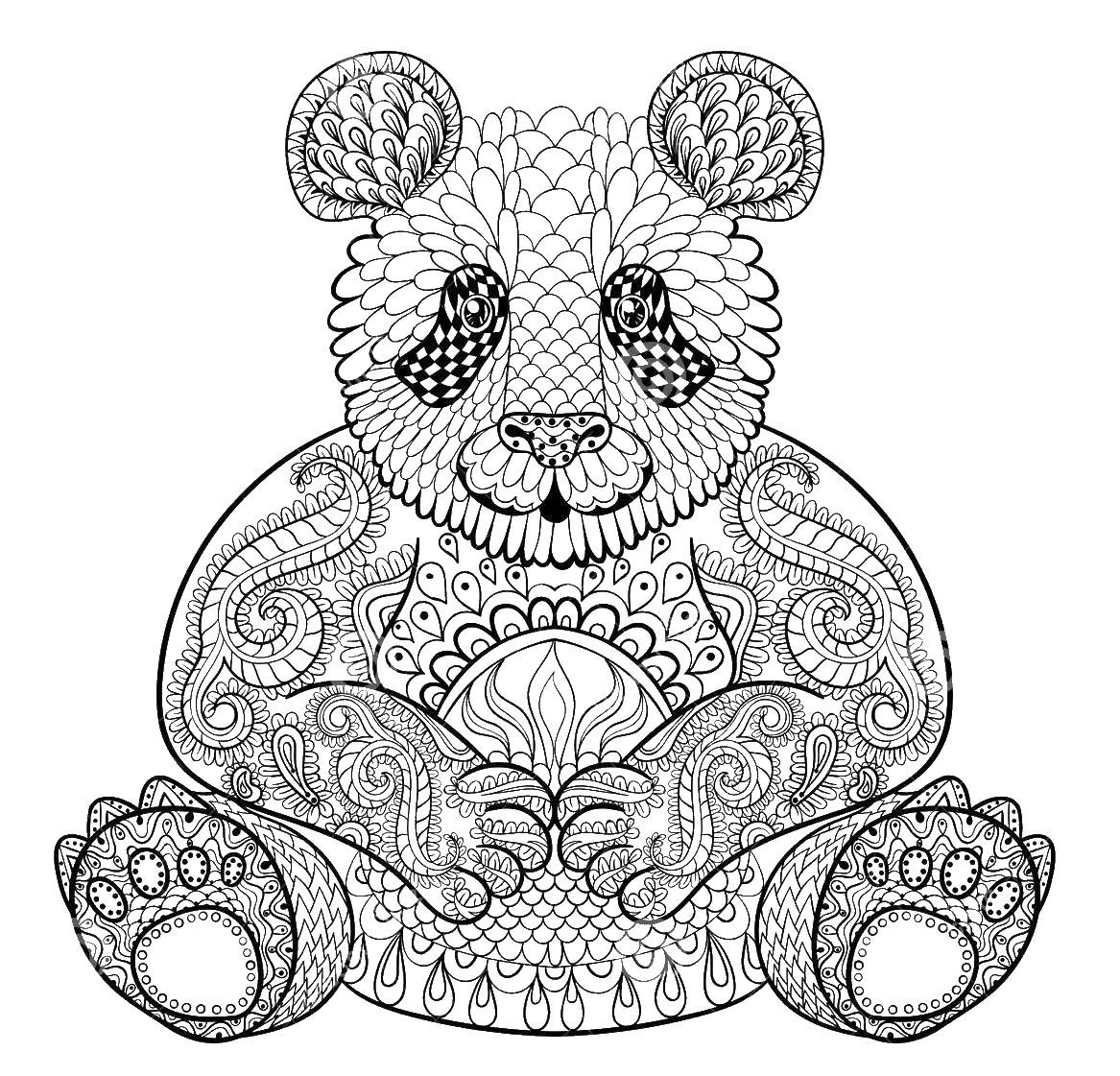 Adult Coloring Pages Panda Adult Coloring Pages And Zentangled Art