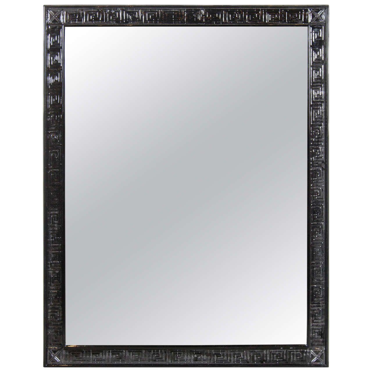 Mid century modern mirror w greek key border in ebonized walnut mid century modern mirror w greek key border in ebonized walnut jeuxipadfo Choice Image