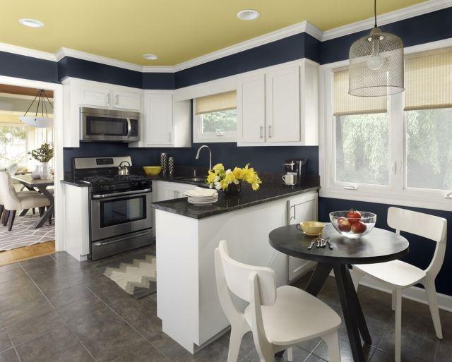 wandfarbe-kueche-dunkelblau-weisse-schraenke-gruene-decke | Küchen ...