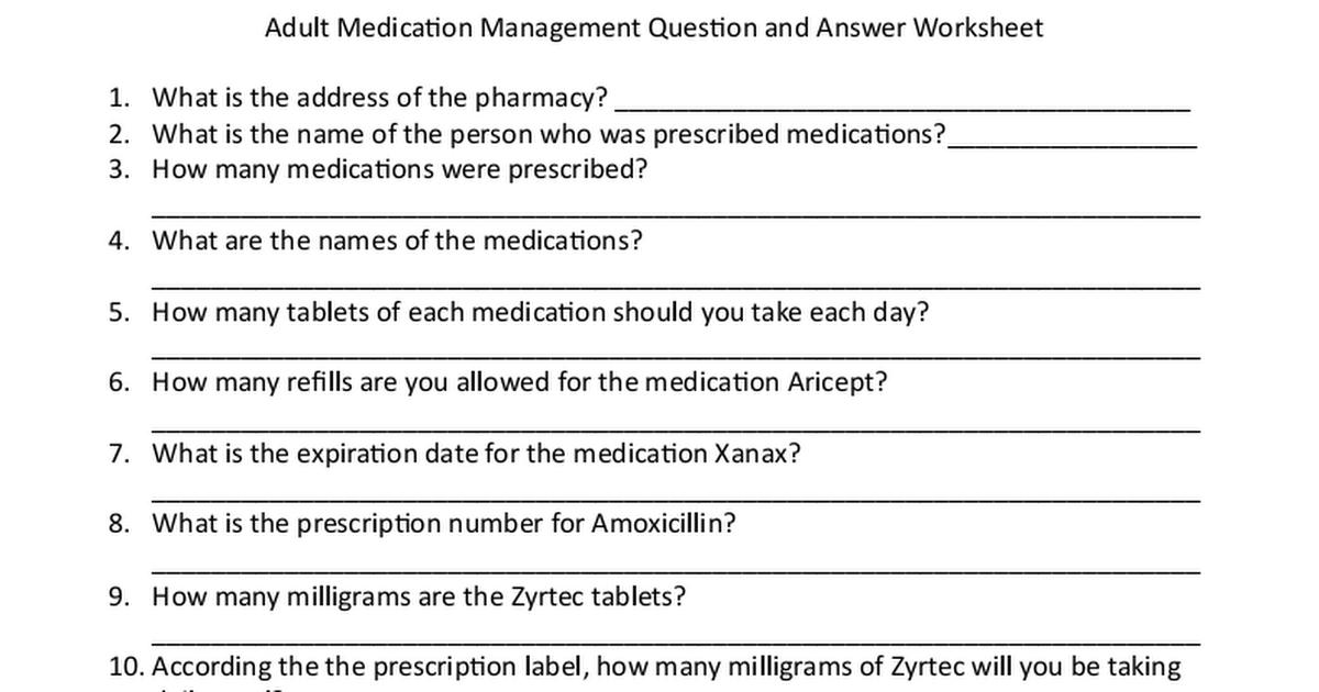 Medication Management Question Worksheet.pdf   Medication ...