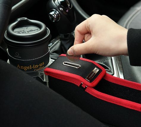 KMMOTORS Coin Side Pocket Red Line Passengers Side with Cup Holder Console Side Organizer Crevice Filler Console Side Organizer Multi-Functional Storage
