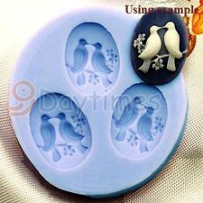 Love Birds 3 Cavities Flexible Silicone Chocolate Mold For Candy Polymer Clay