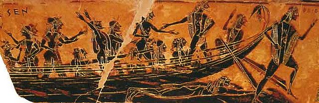 Theseus Ship Arrives At Athens From The Francois Vase Ancient