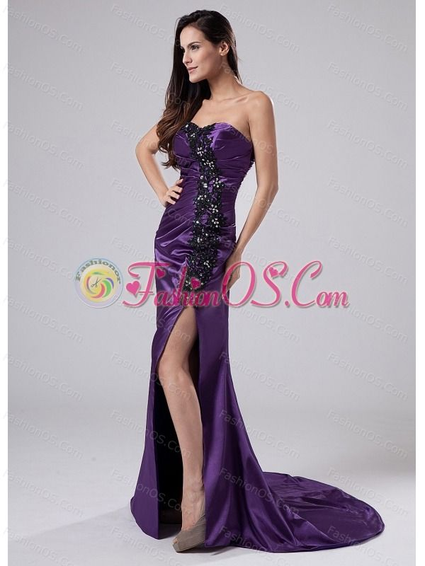 Beading Elastic Woven Satin Column Sweetheart Brush/Sweep Prom Dress ...