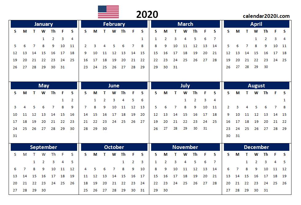 Us 2020 Calendar Yearly 12 Month Printable Calendar 2020 Printable Calendar Design Calendar Printables Weekly Calendar Template