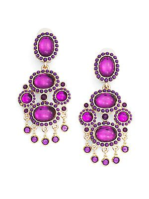 Kenneth Jay Lane AmethystGlass Crystal Chandelier Earrings - on sale for $49 at Saks!