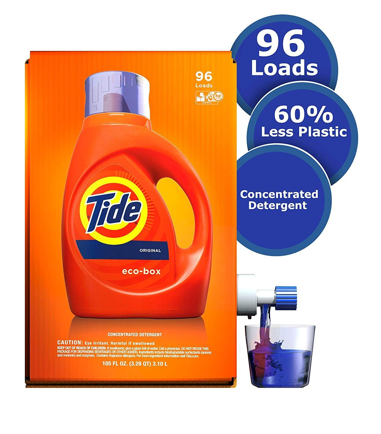 Tide Laundry Detergent Liquid Eco Box Concentrated Original Scent 105 Oz He Compatible 96 Loa In 2020 Tide Laundry Detergent Tide Laundry Liquid Laundry Detergent