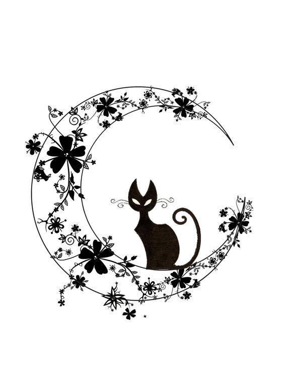 Dessin Tatouage Chat Noir Lune Et Fleurs Chats