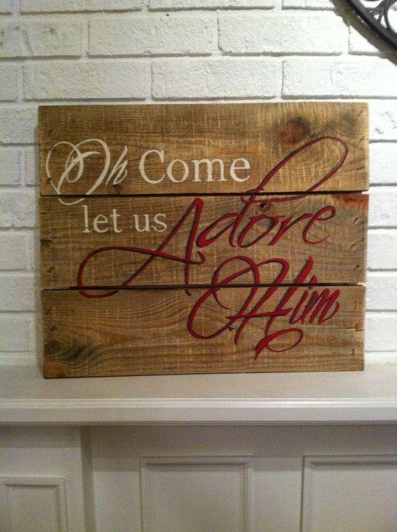 Christmas sign on reclaimed pallet wood  O by NestEggDesignsNC, $48.00 by iluvmario