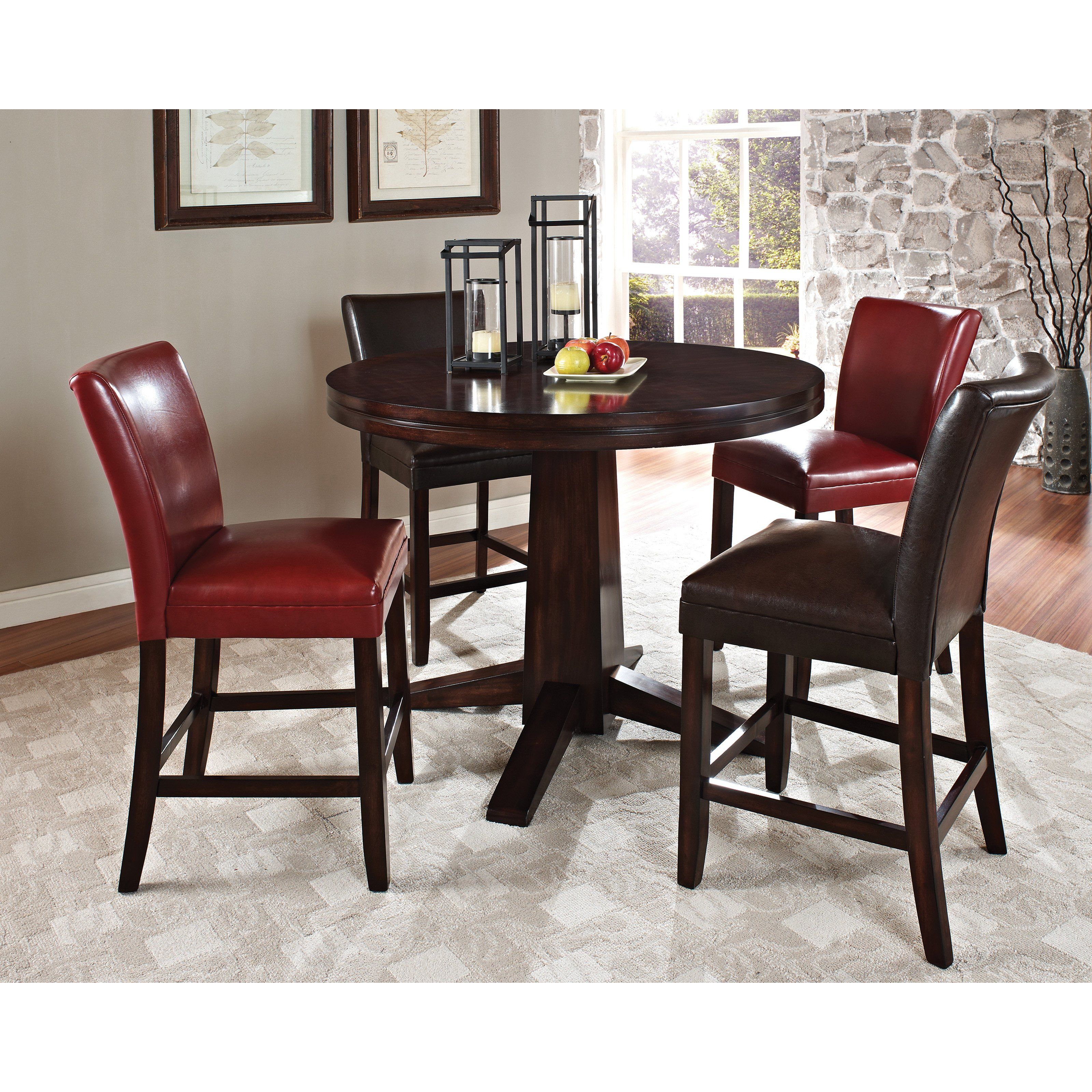 Have to have it. Steve Silver Hartford Counter Height Pedestal Dining Table - Dark Cherry $