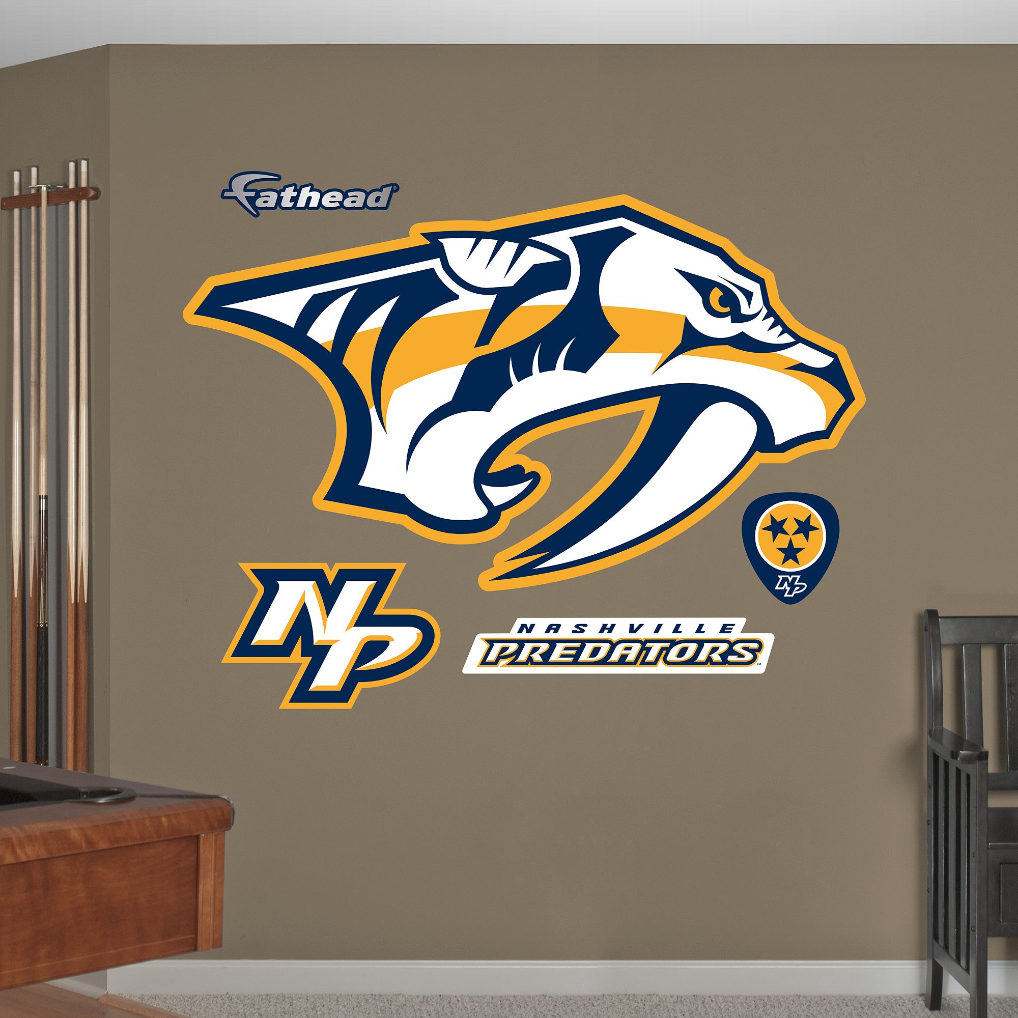 nashville predators logo giant officially licensed nhl on wall logo decal id=48119