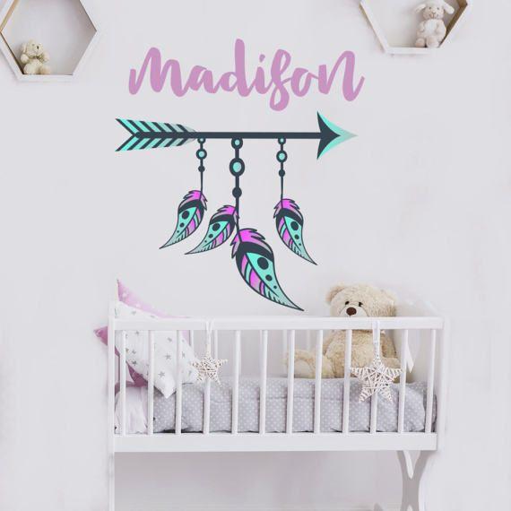 Girls name wall decal boho nursery decor feather stickers arrow also personalized vinyl boys rh pinterest