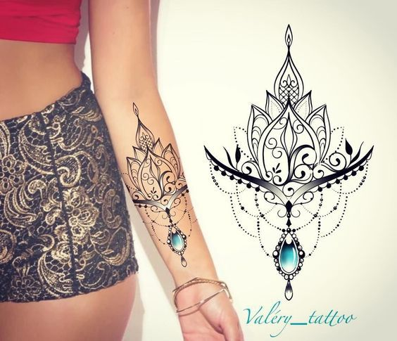 30 Stunning Lotus Flower Tattoo Ideas Tattoos Gem Tattoo Jewel Tattoo