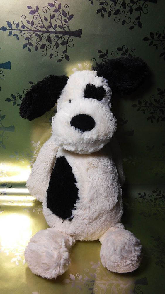 Jellycat London Bashful Black and White Spot Puppy Dog