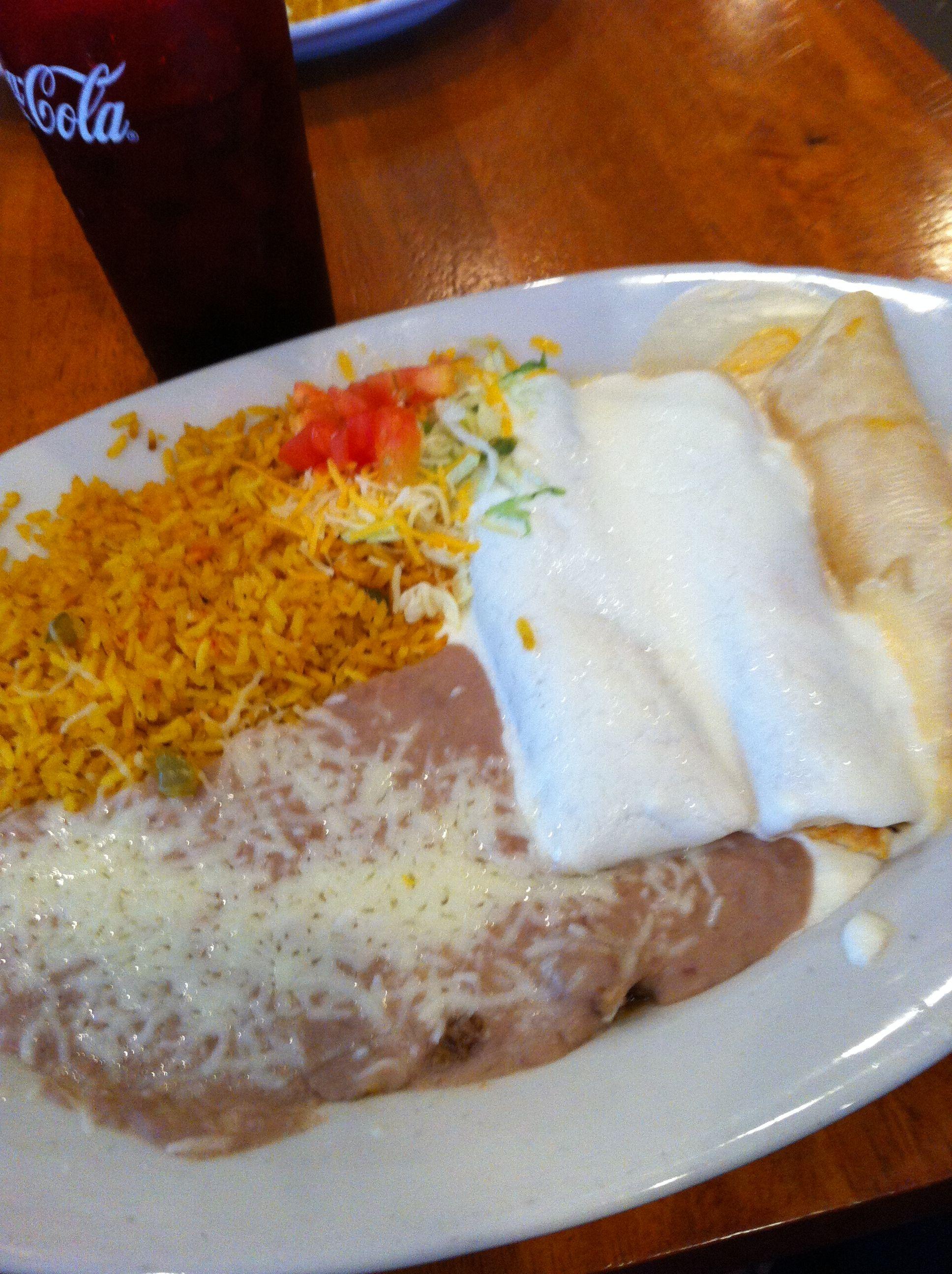 Enchilada dinner at compadres mexican restaurant in broken