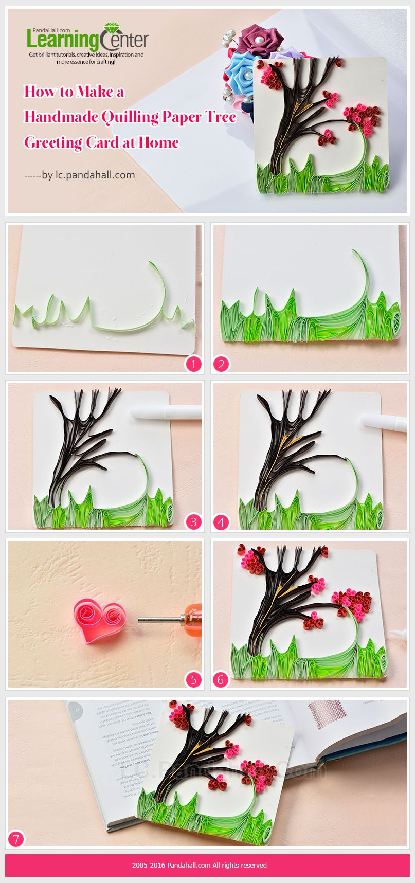 Tutorial On How To Make A Handmade Quilling Paper Tree Greeting Card