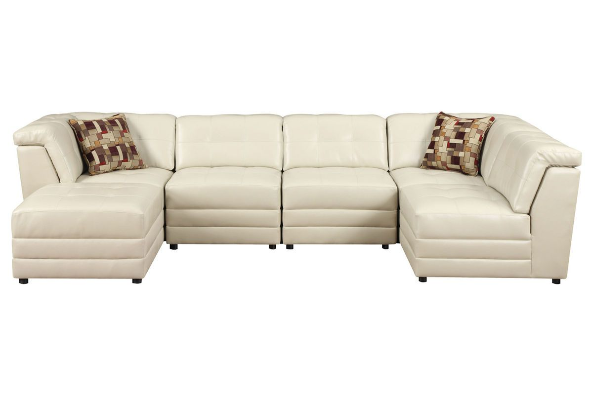 Calisto 7 Piece Bonded Leather Sectional Naturally Neutrals