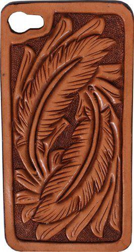 Feather Tooled Hard Phone Case from Double J Saddlery