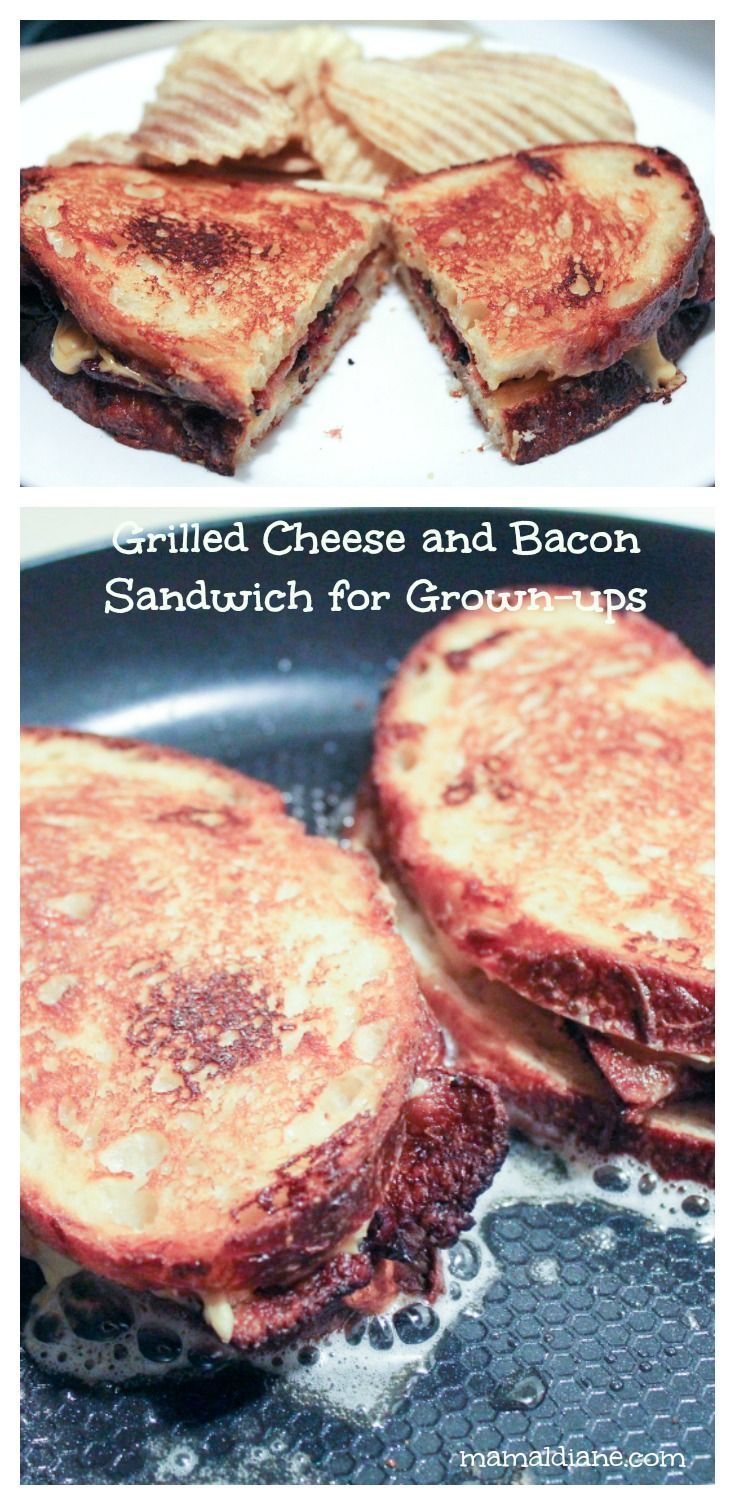 Grilled Cheese with Bacon Sandwich for Grownups is full of cheesy deliciousness.