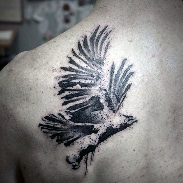 Abstract Style Black And White Eagle Tattoo On Scapular Black Watercolor Tattoo Tattoos For Guys Tattoo Designs Men