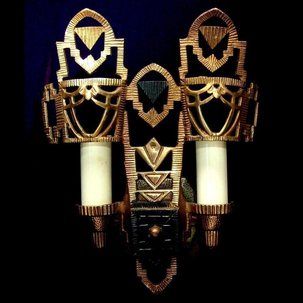 Pair vintage art deco brass wall sconce light fixtures by lincoln pair vintage art deco brass wall sconce light fixtures by lincoln arubaitofo Gallery