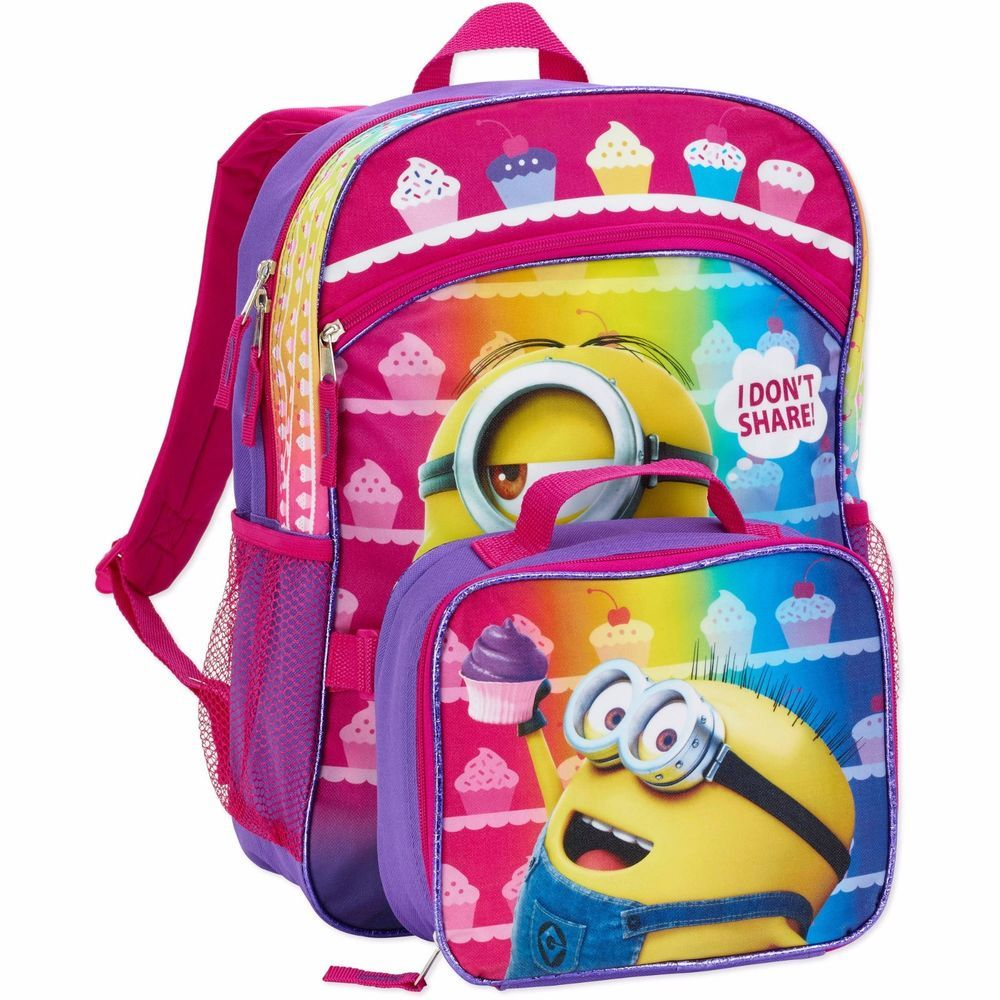 ea54464ccde9 Despicable Me Girls Minions Backpack with Detachable Lunch Bag ...